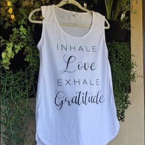 LA Threads Women's White Yoga Tee with Inhale Love